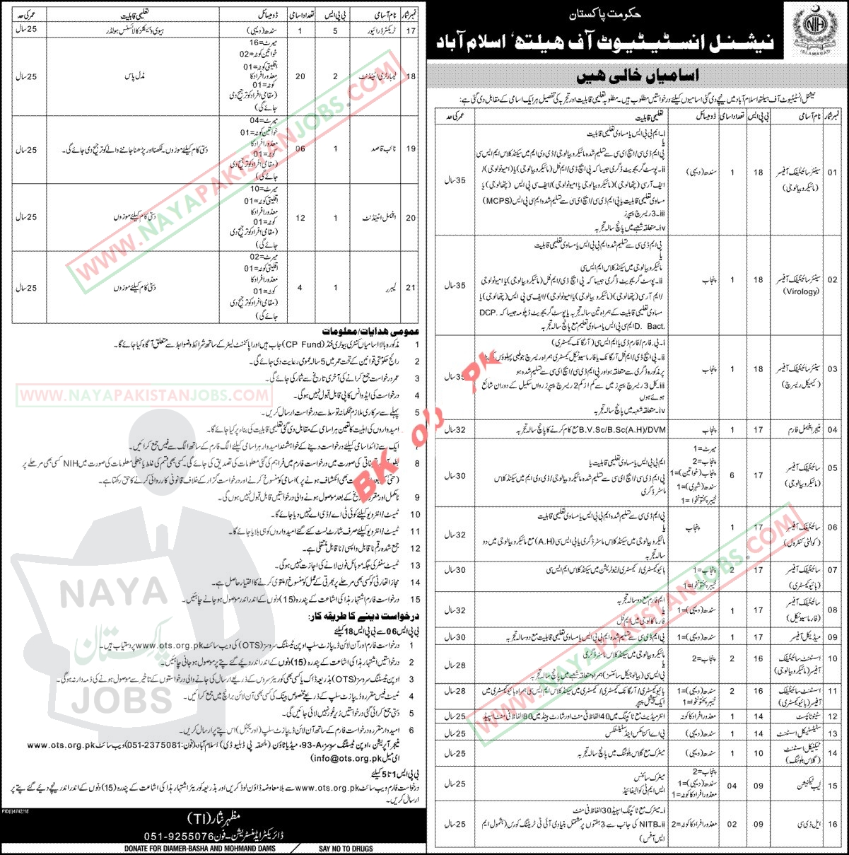 NIH Jobs, ni Islamabad ots Application form , NIH National Institute of Health Islamabad Jobs 2019 OTS Application form