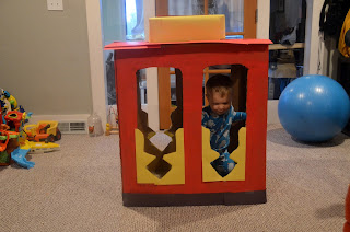 diy daniel tiger birthday trolley cardboard box homemade party decoration