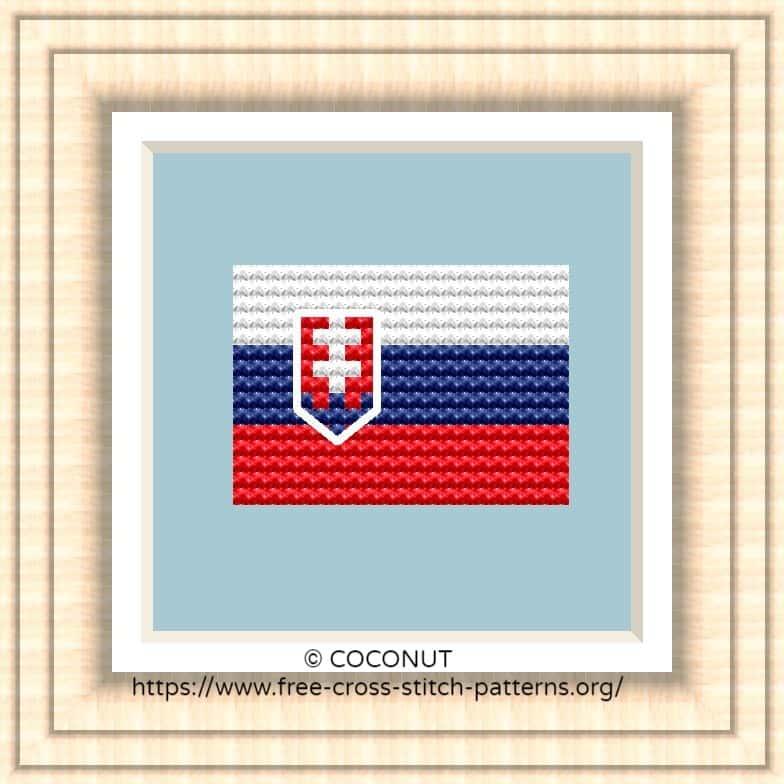 NATIONAL FLAG OF SLOVAKIA CROSS STITCH CHART