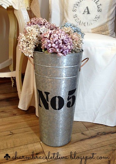 Stenciled galvanized French flower bucket