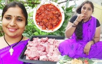Village Foods Cooking Spicy Mutton Pickle Recipe | South Indian Mutton Recipe Preparing | Sea Foods
