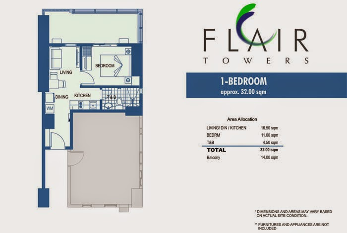 Flair Towers 1 Bedroom Unit 32.00 sqm.