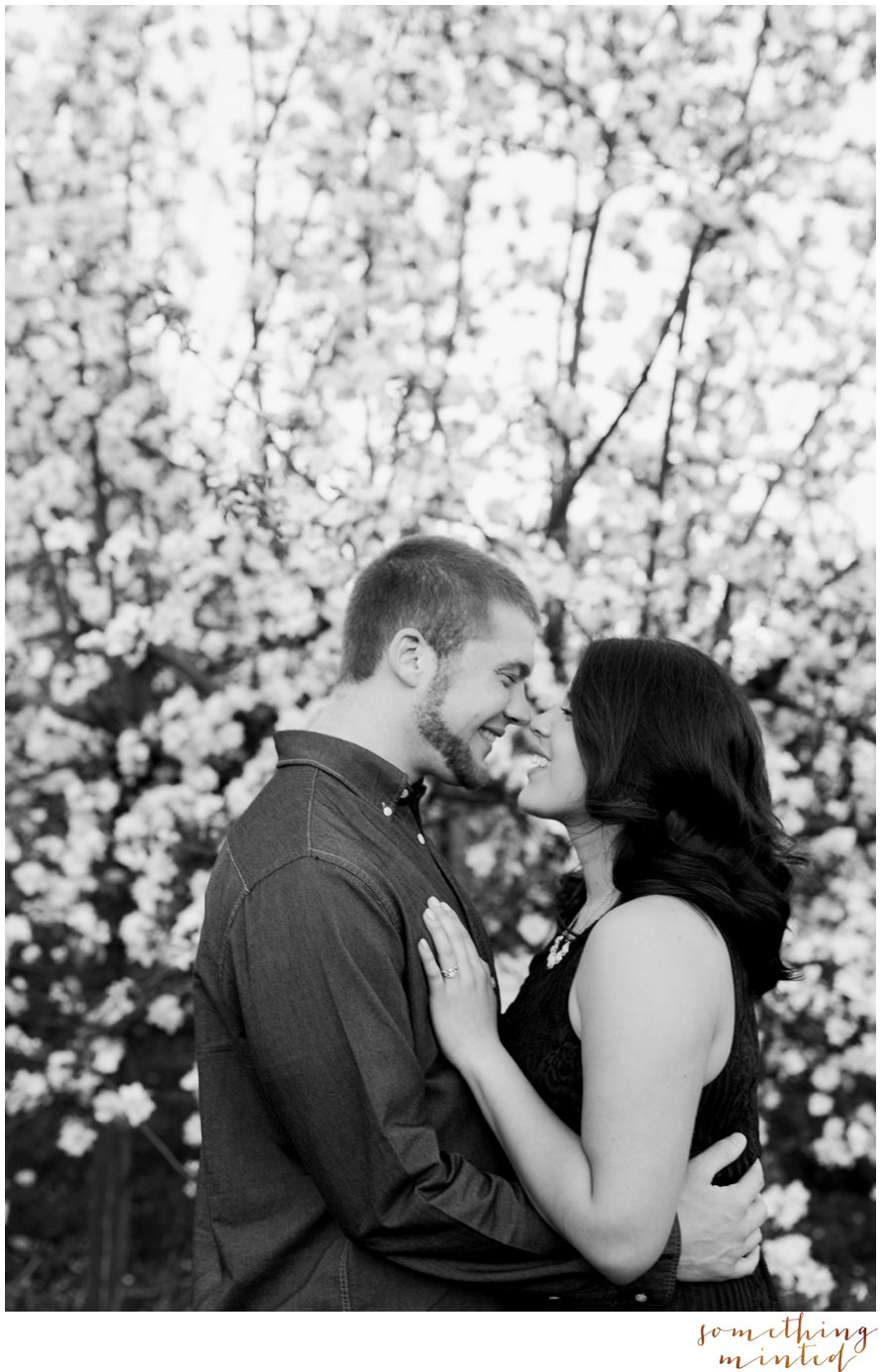 Black and White Engagement Session, Apple Blossoms by Something Minted