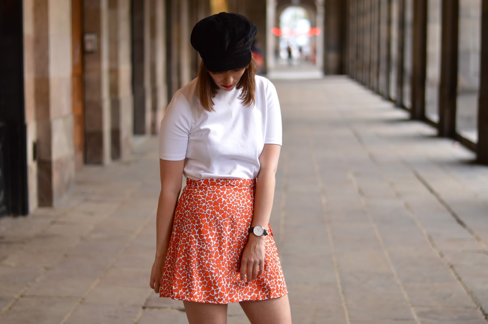Spring sixties Motel Rocks heart print mini skirt and Topshop polo neck t-shirt