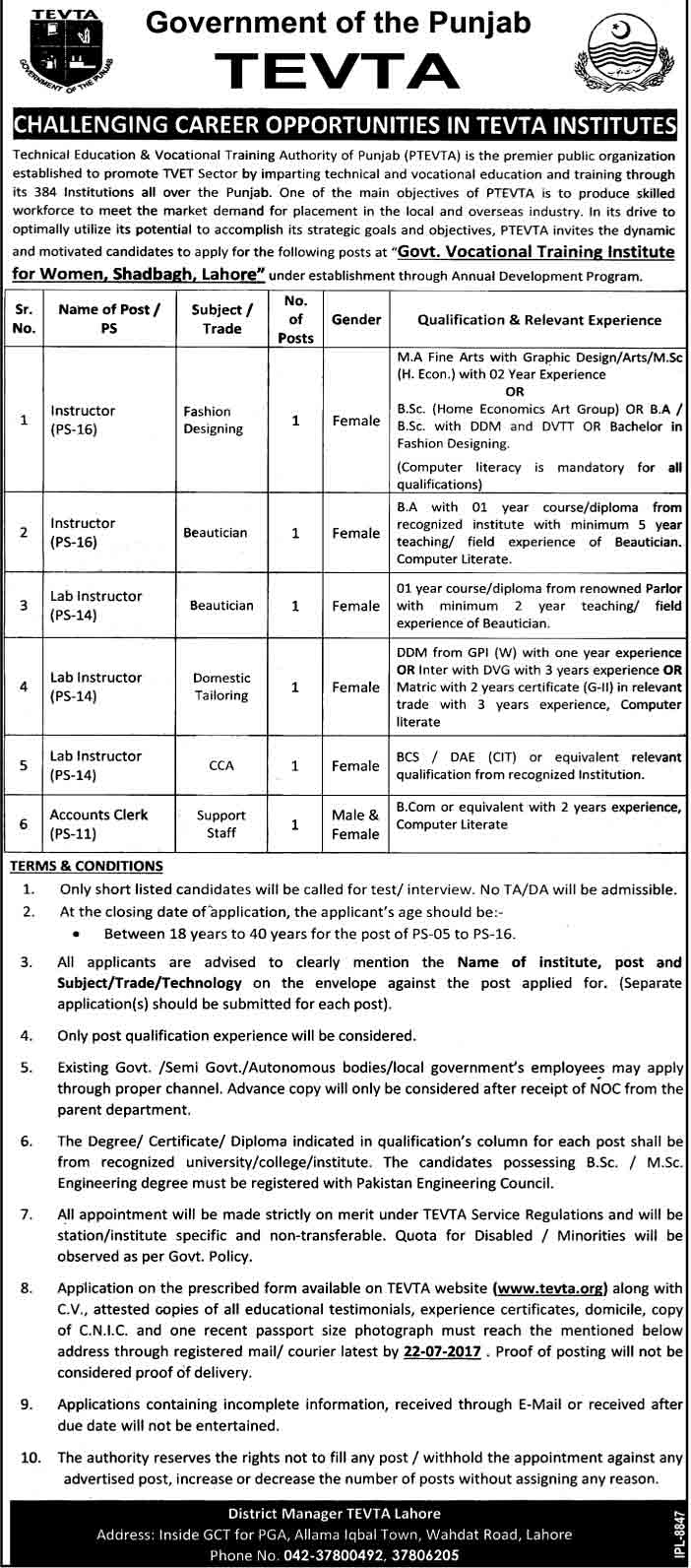 jobs in Technical Education And Vocational Training Authority Lahore july 2017