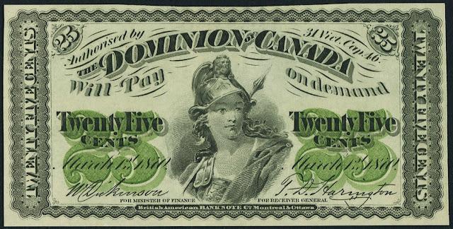 Dominion of Canada 25 Cents Banknote 1870 Britannia