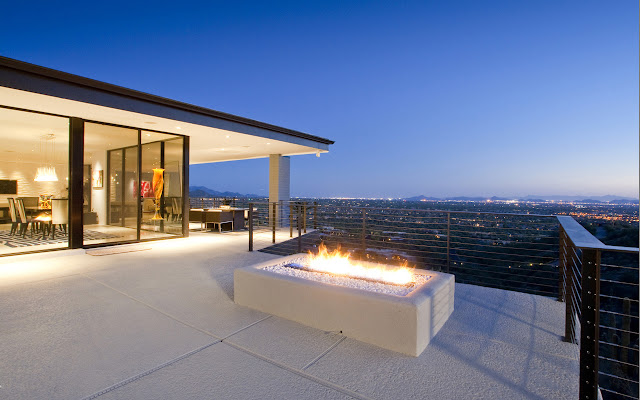 Outdoor fireplace in the terrace