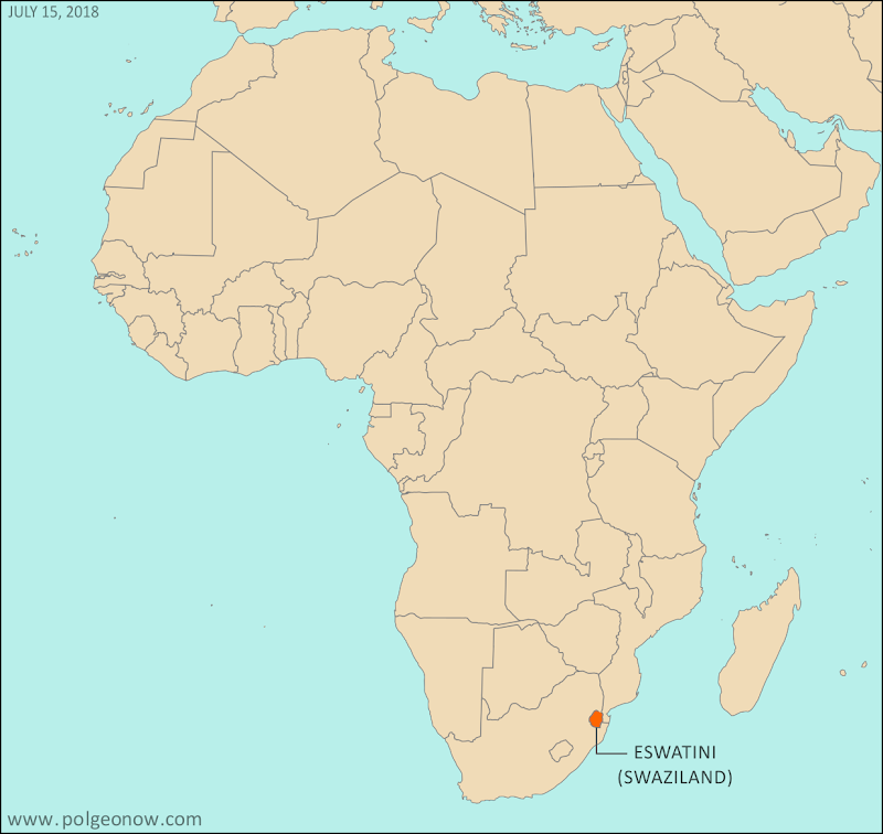 Where is Eswatini? Map of Eswatini's location in Africa. Formerly known as the Kingdom of Swaziland, the country was renamed Kingdom of Eswatini in 2018.