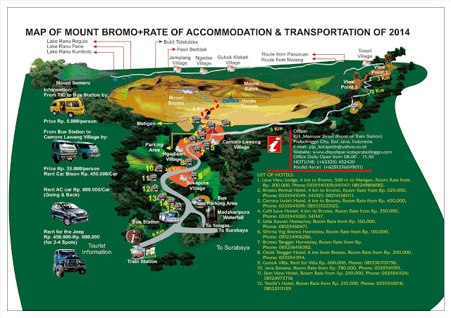 Bromo Map and Transportation List