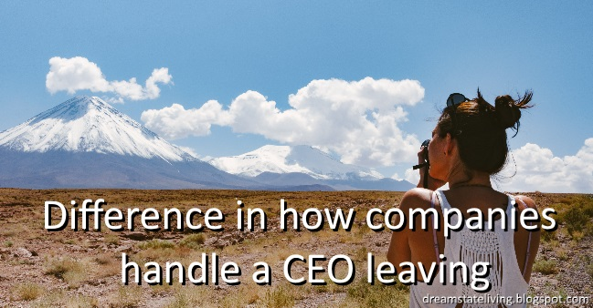 woman taking a photo of mountain, difference in how companies handle a ceo leaving