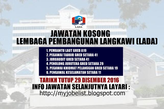 Jawatan Kosong Lembaga Pembangunan Langkawi (LADA) Disember 2016