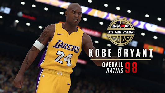 NBA 2k18 All-Time Kobe Bryant Screenshot and Rating