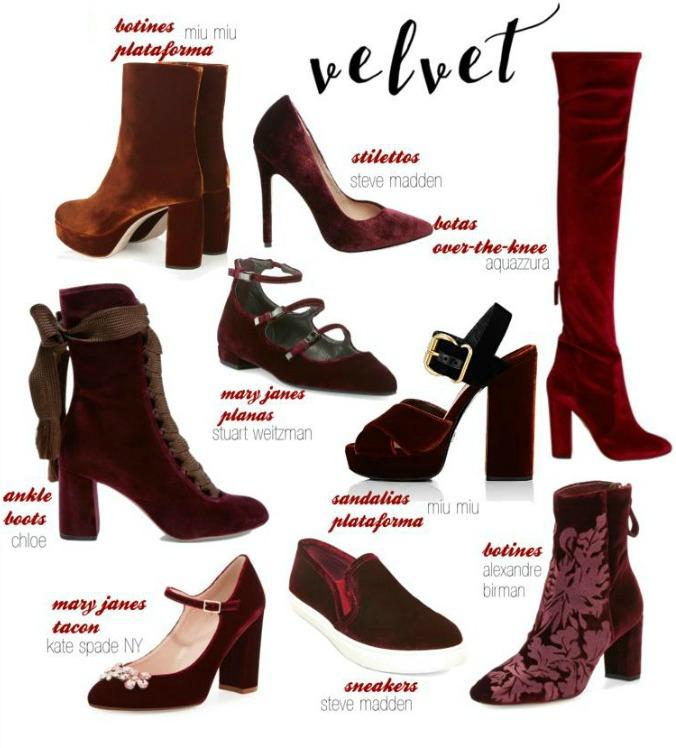 zapatos terciopelo burdeos