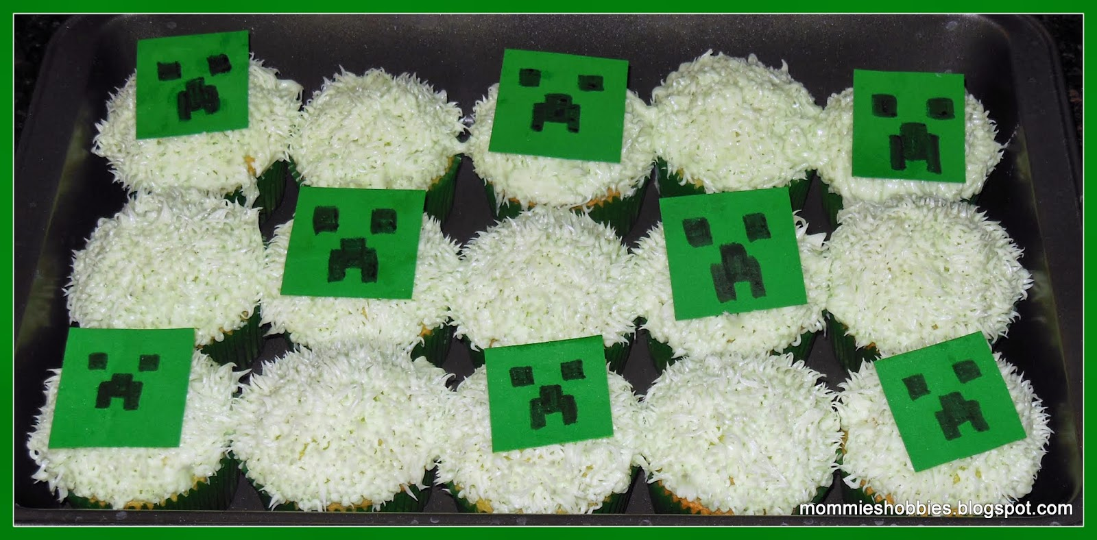 Mommies Hobbies Super Easy Minecraft Creeper Cupcake Toppers