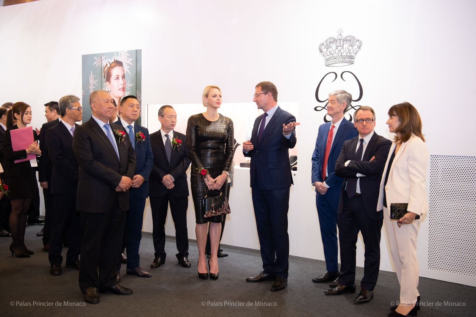 Princess Charlene Wears a black Tom Ford dress to Open Princess Grace Exhibition in Macau