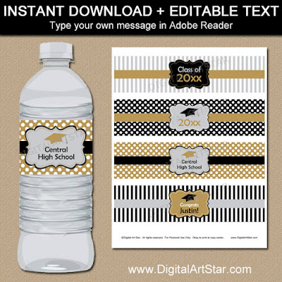 graduation party supplies - printable graduatuion water bottle labels in black, gold, silver