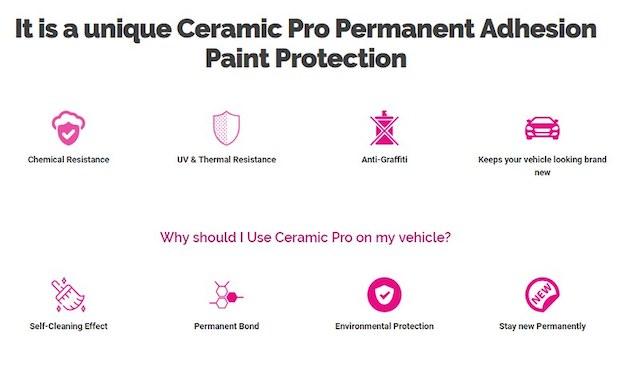 Unique Ceramic Pro permanent adhesion paint protection