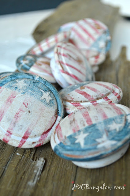 flag hardwre, decoupage knobs, 4th of july knobs, fourth of july hardware, 4th of july furniture