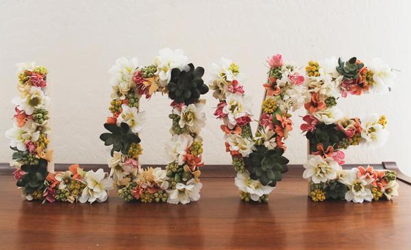 Decoracion Letras Boda ~ Letras decoradas con flores para tu boda  Bodas con detalle  Blog