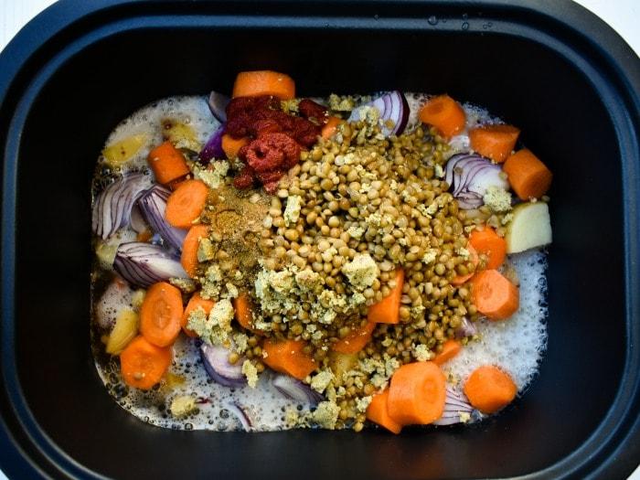 Making Slow Cooker Vegan Irish Stew