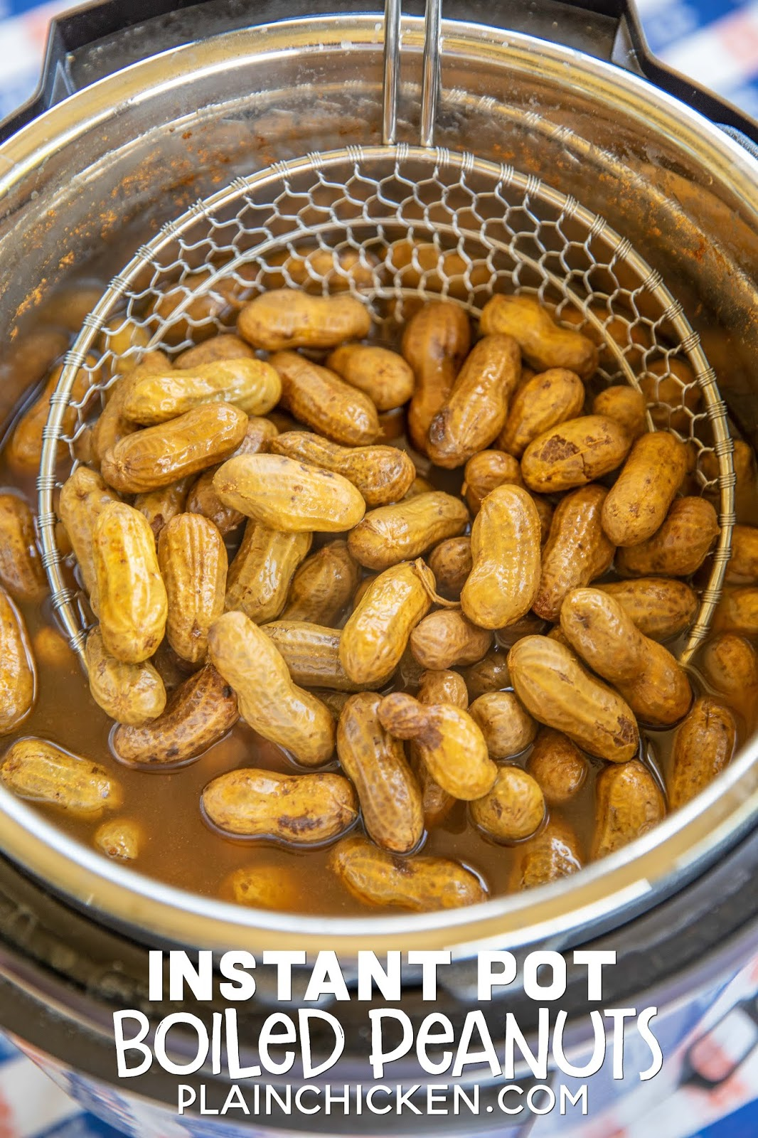 Instant Pot Boiled Peanuts - ready to eat in under an hour!! We love these boiled peanuts for tailgating. SO easy to make! Season with cajun seasoning, old bay or salt. Store leftovers in the refrigerator for up to 10 days. #instantpot #tailgating #peanuts #boiledpeanuts