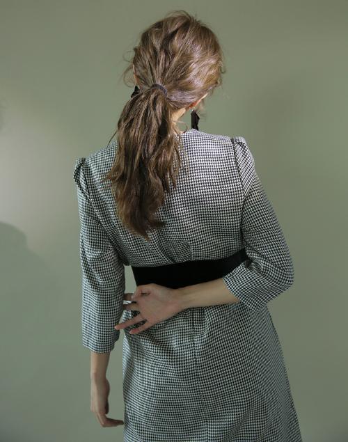 Belted Queen Anne Neckline Dress