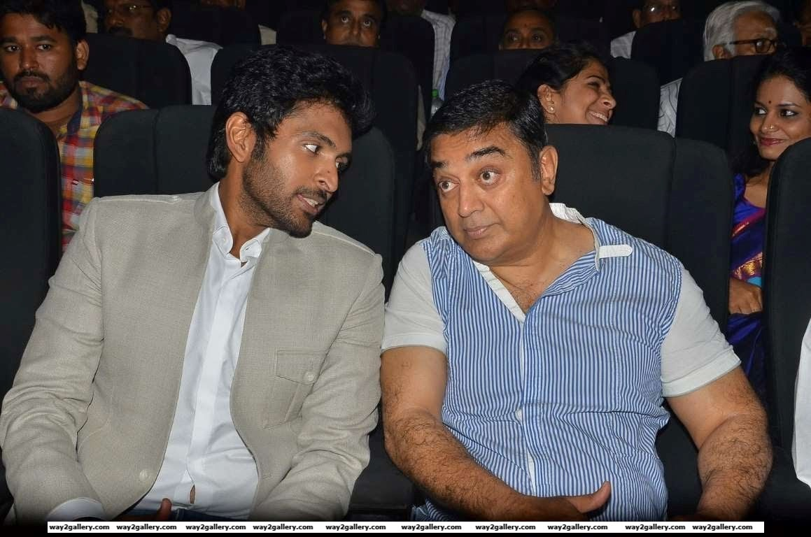 Vikram Prabhu in conversation with Kamal Haasan during the audio launch of Tamil film Wagah