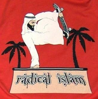 Funny radical Islam skateboarder joke cartoon picture