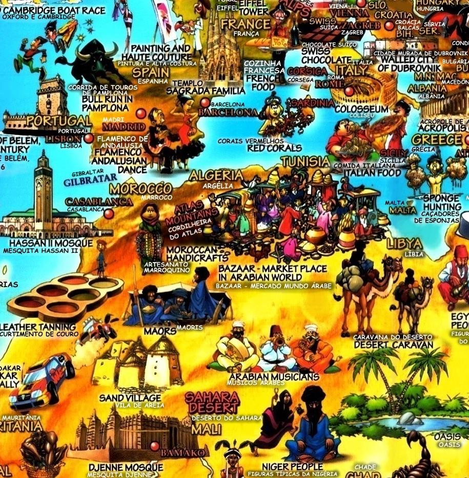 mapa de malta em portugues Mapa mundi cultural ilustrado Monumentos mapa de malta em portugues