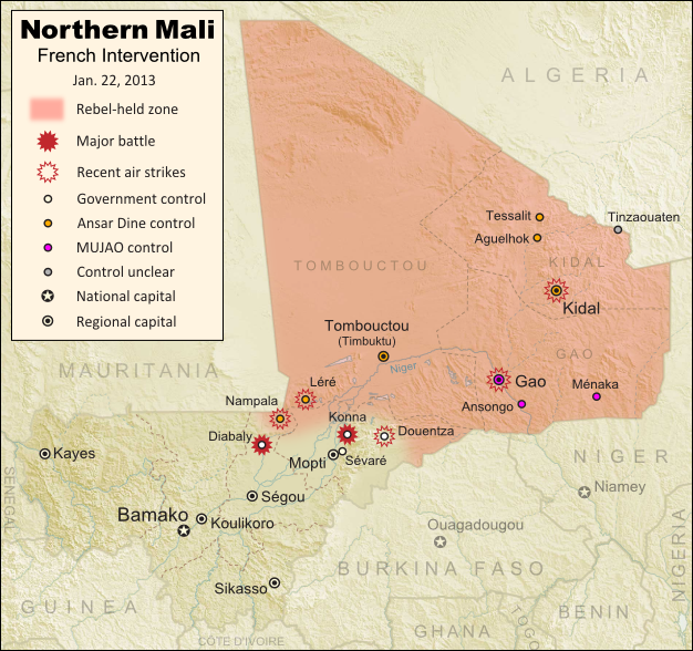 Updated map of fighting and territorial control in Mali during the January 2013 French intervention against the Islamist forces of Ansar Dine and MUJAO. Reflects the Jan. 21 recapture of central town Douentza by French and Malian forces.