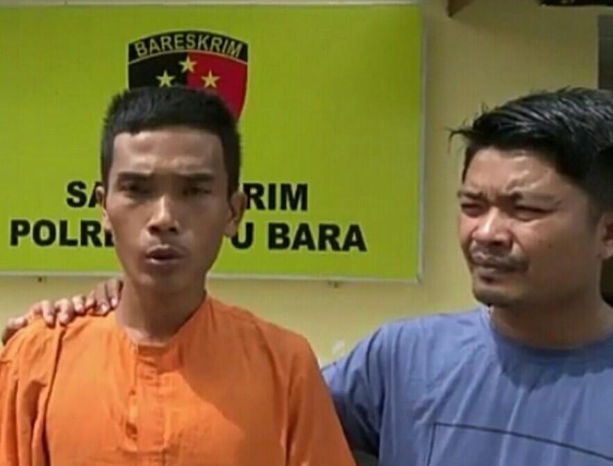 Tersangka pelaku pencabulandi Batubara saat diringkus polisi.