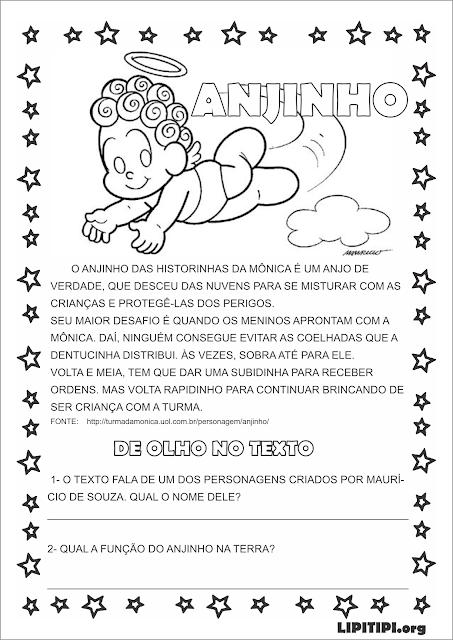 Atividade Texto Interpretação e Gramática Personagem Anjinho Maurício de Souza