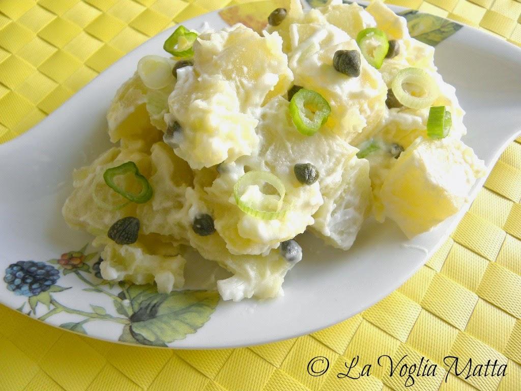 insalata di patate con capperi e cipollotto