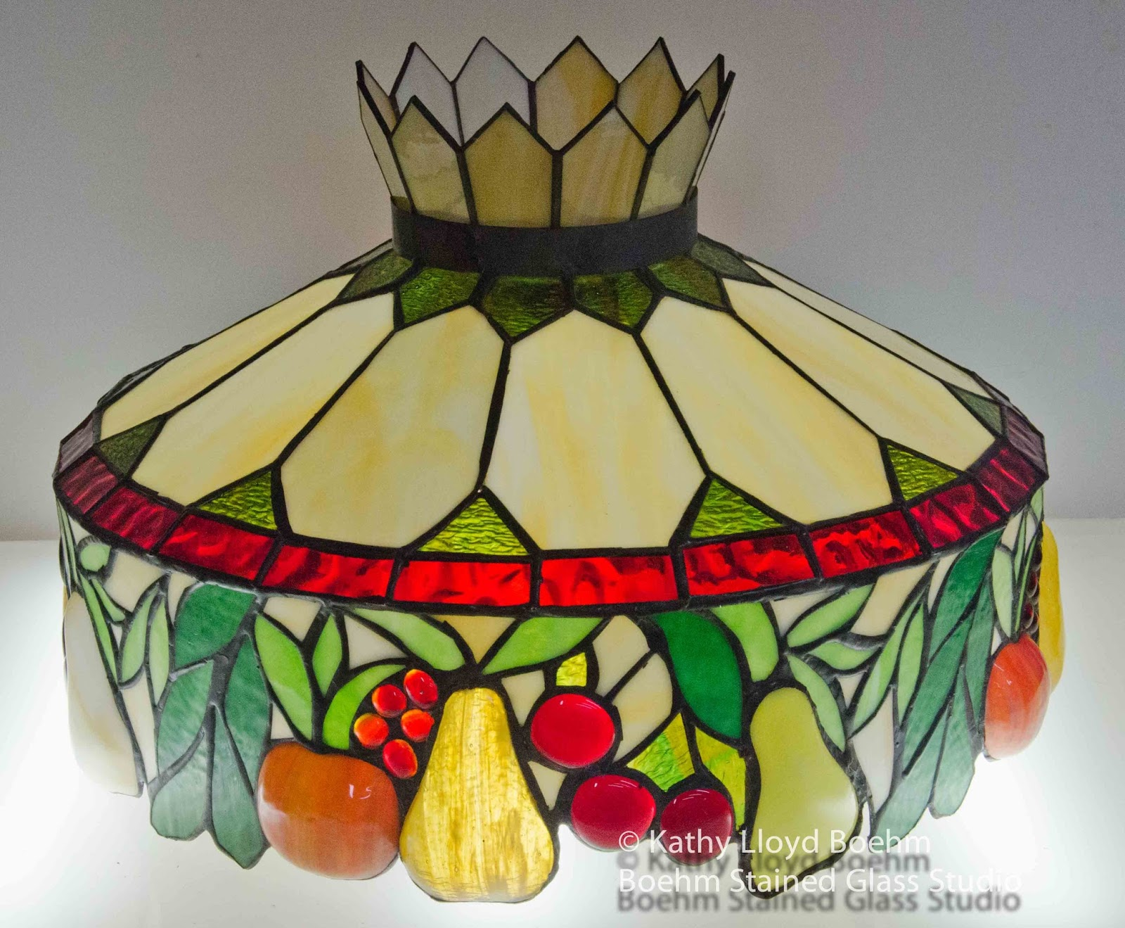 Boehm Stained Glass Blog: Stained Glass Fruit Lamp Repair #9