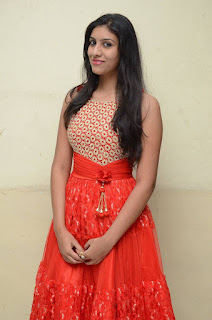 Srilekha Stills in Red Dress at Oke Oka Aasa Movie Audio Launch