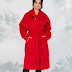Palton femei rosu lung din lana pentru iarna la super pret