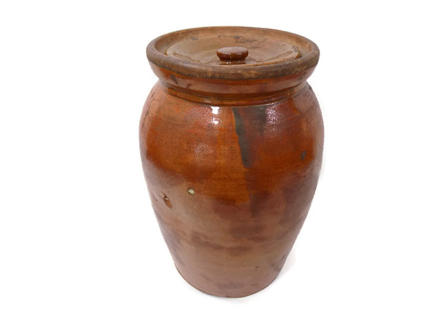 Redware Antique Jar ORIGINAL LID