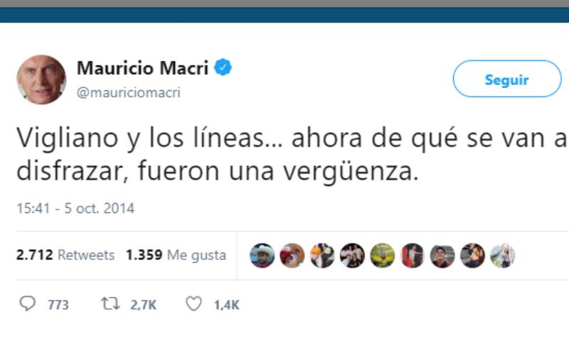 Twitter de Macri en un Boca-River por el arbitraje de Vigliano