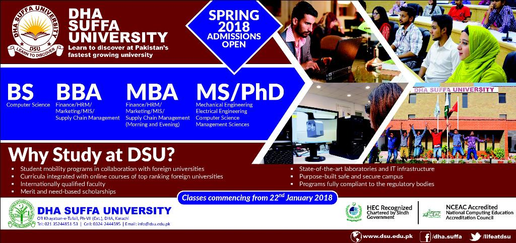 Admissions Open in DHA Suffa University Karachi