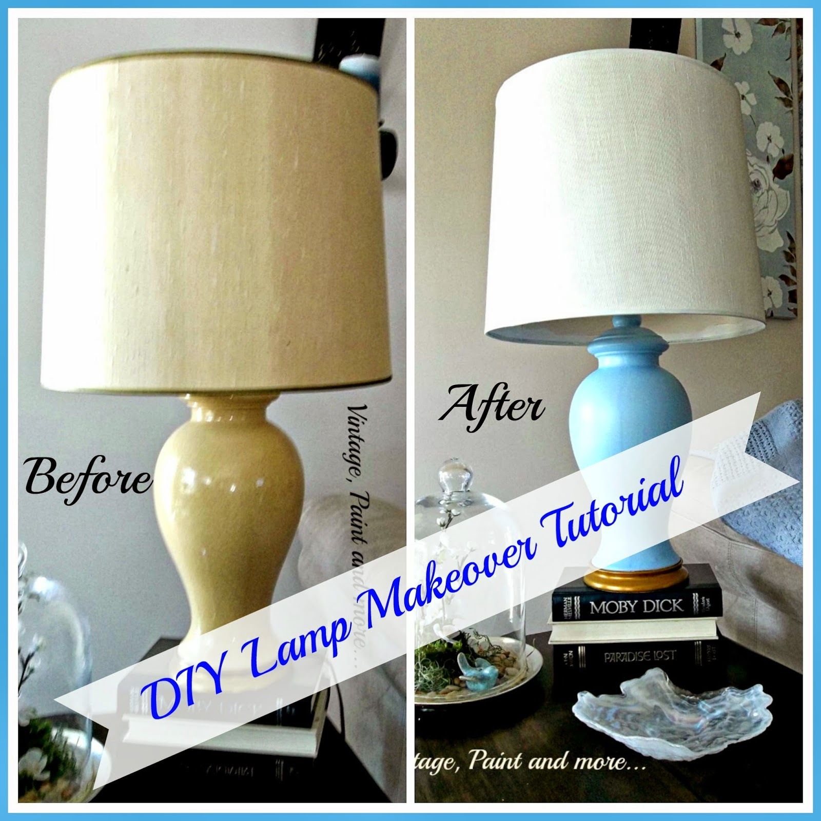 DIY Lamp Makeover - before and after of thrifted lamp painted with spray paint