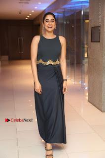 Actress Regina Candra Stills in Beautiful Blue Long Dress at Nagaram Success Meet  0165.JPG