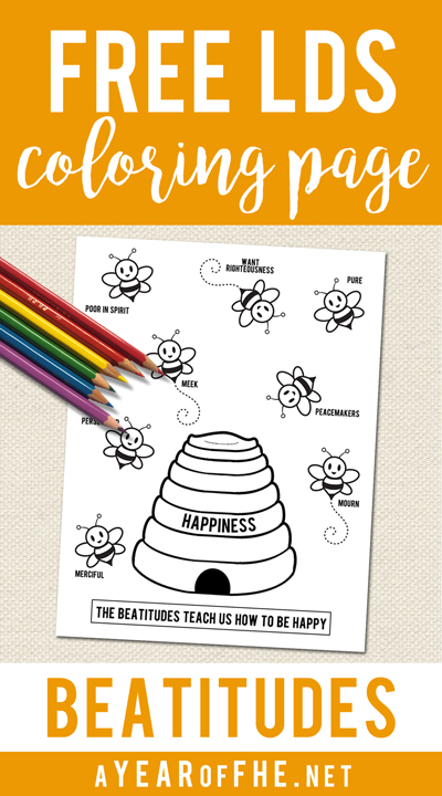A Year of FHE // Free BEATITUDES coloring page to use for Primary, Sacrament Meetings or Family Home Evening. #lds #coloringpage #beatitudes