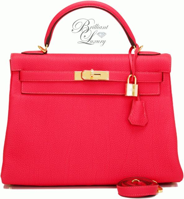 Brilliant Luxury ♦ Hermès Red Rouge Pivoine Togo Kelly Bag