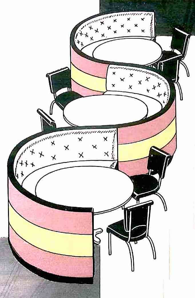An illustration of 1938 restaurant booths from an industry supply catalog