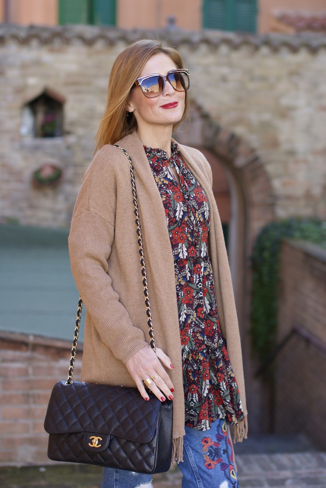 1.2.3 Paris Apache fringed camel cardigan, Chanel 2.55 bag Fashion and Cookies fashion blog, fashion blogger style