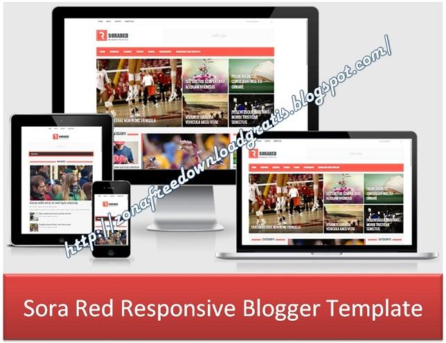 Sora Red Responsive Blogger Template
