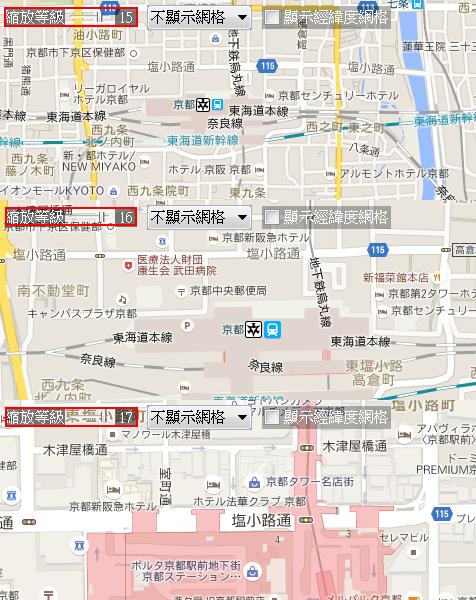 日本京都車站,在不同 level 所呈現的地圖