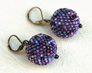 купить серьги из бисера шарики бусины сиреневый фиолетовый