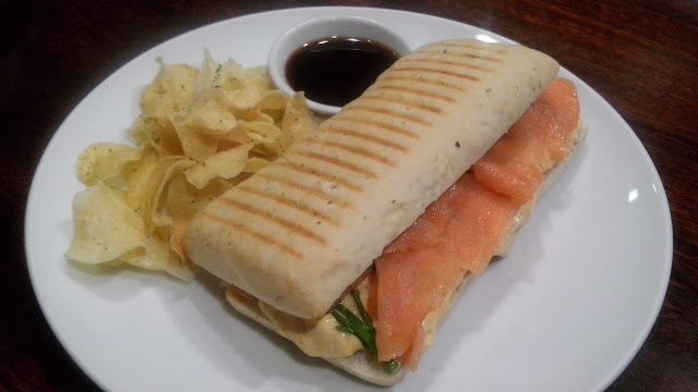 Salmon and Egg Mayo Sandwich Php 480 Smoked salmon, egg mayo spread and asparagus on herb ciabatta served with sweet potato chips.