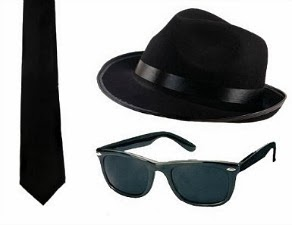 The Blues Brothers Fancy Dress Kit - hat, tie and shades
